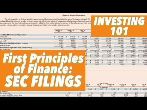 INVESTING 101 SEC Filings: First Principles Of Finance