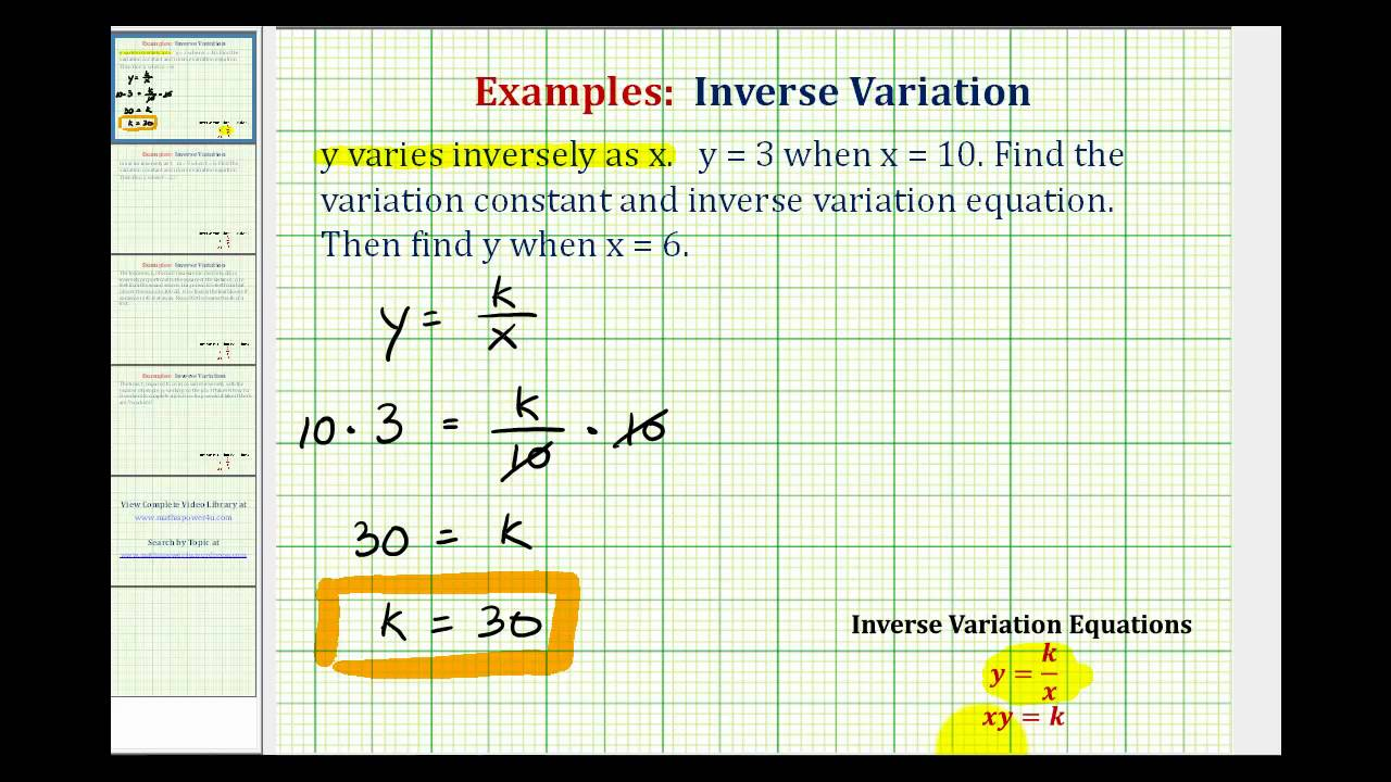 hight resolution of Inverse Variation Word Problems (video lessons