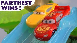Cars Lightning McQueen Farthest Wins Race with Spongebob and the funny Funlings TT4U