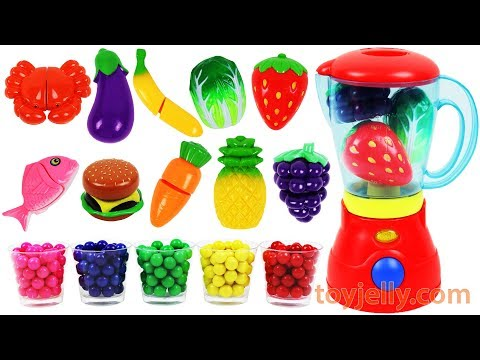 Toy Cutting Velcro Fruits Vegetables Bubble Gum Blender Baby Finger Nursery Rhymes Learn Colors Kids