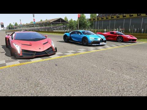 Bugatti Chiron Pur Sport vs Lamborghini Veneno vs Ferrari LaFerrari at Monza Full Course