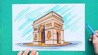How to draw and color Arc de Triomphe, Paris, France