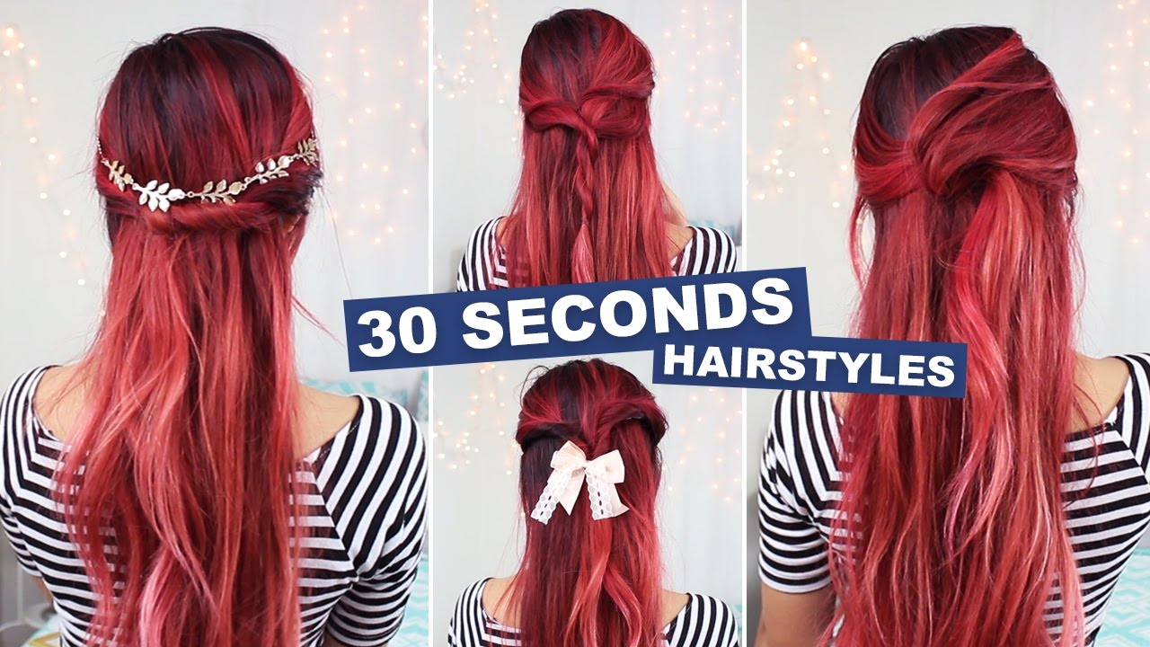 5 hairstyles in under 30 seconds! - youtube