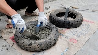 Creative Construction Gym Workout Tools Using Old Tires - DIY Dumbbell Weights