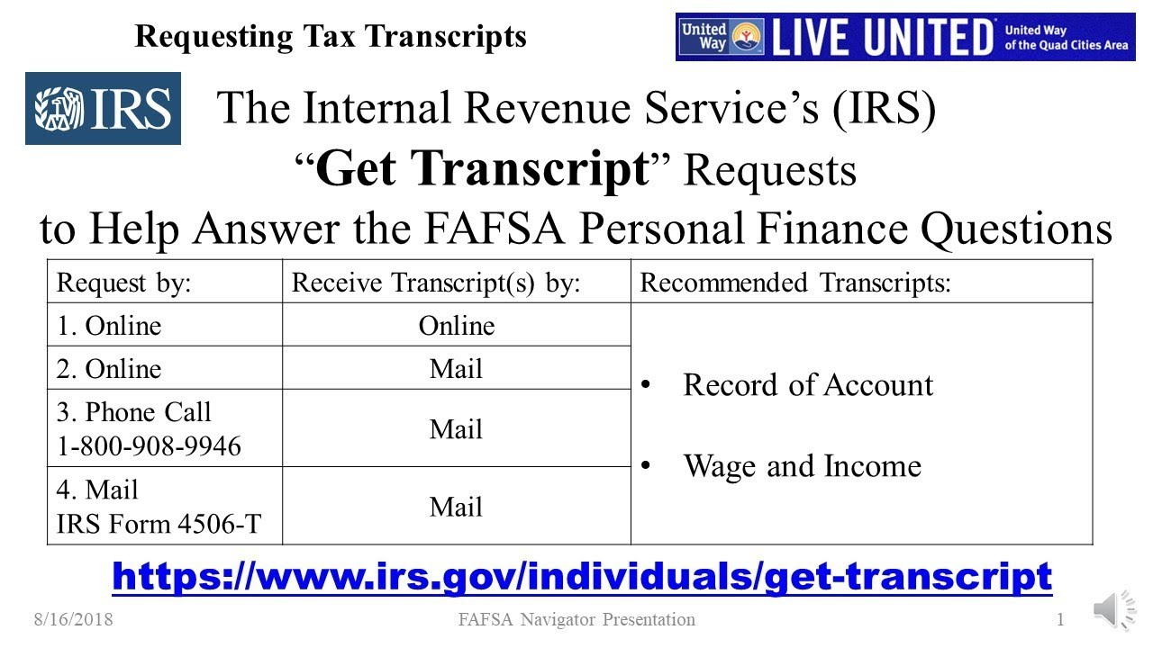 """IRS """"Get Transcript"""" Service, and the FAFSA's Questions on Taxes and  Personal Finances"""