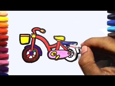 Bicycle Coloring Pages For Kids | cara Menggambar Sepeda untuk Anak