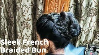 Sleek Low French Braided Low Bun in Long Oily Hair l Wedding Guest Hairstyle l Juda/Bun l Koppu l