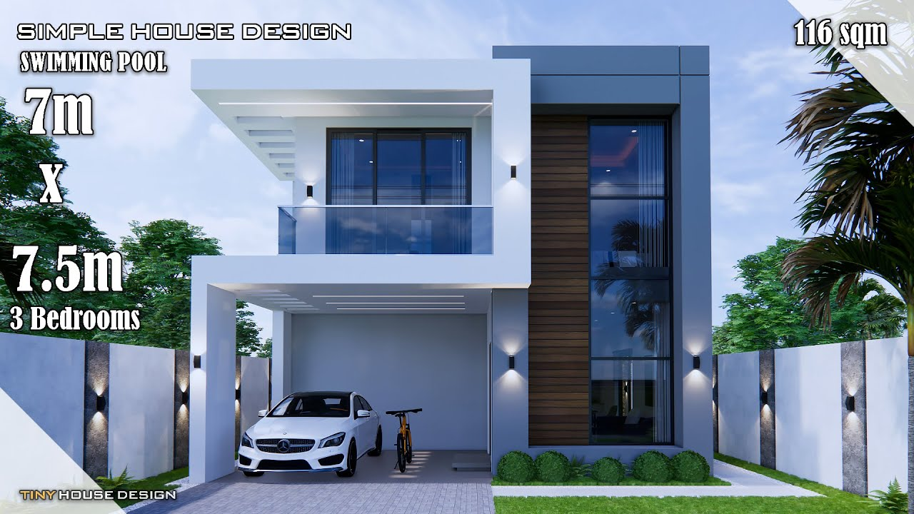 House Design Simple House Design 7m X 7 5m 116 Sqm 3 Bedrooms Youtube