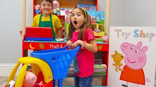 Pretend Play Shopping for New Peppa Pig Toys at Kid Size Toy Store
