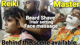 Complementary head massage with beard shave, face massage and neck cracking by Reiki master.