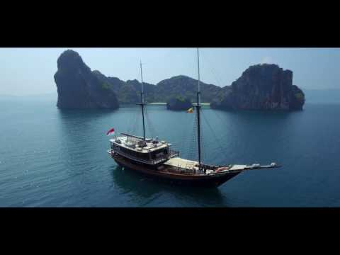 Superyacht Dunia Baru in the Mergui Archipelago, Luxury Yacht Charters Myanmar HD