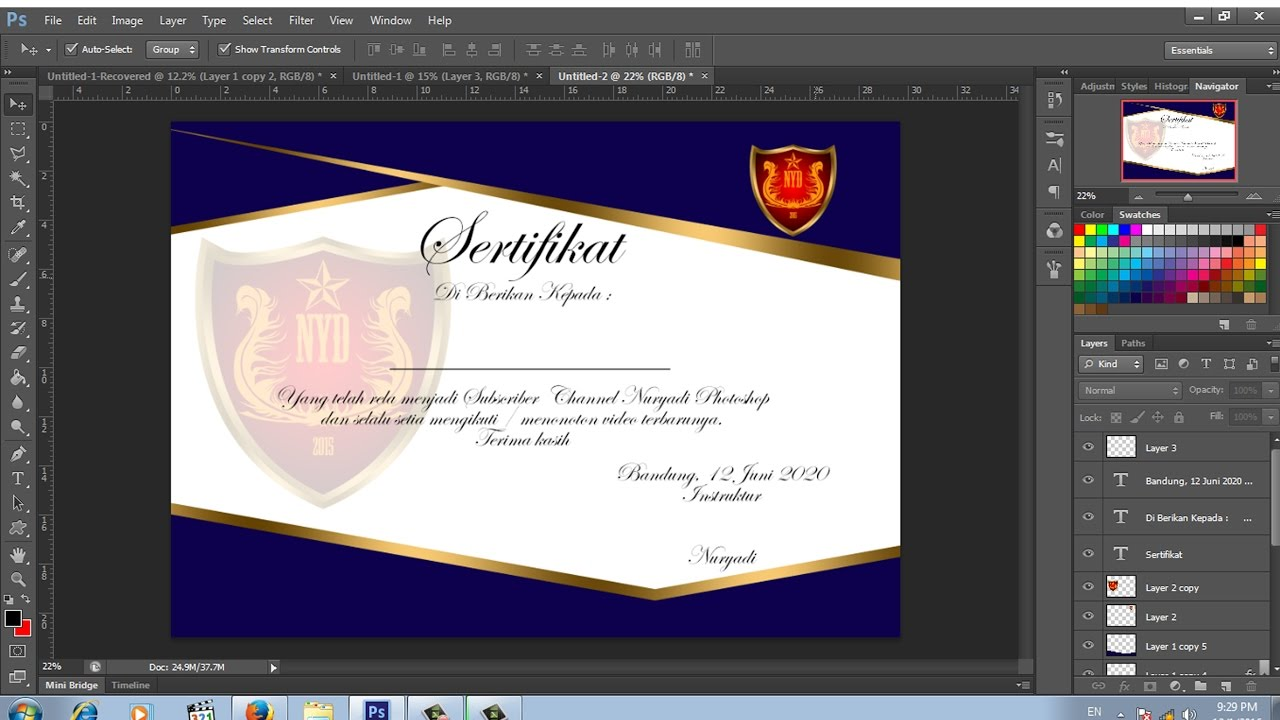 desain sertifikat effect emas dengan photoshop - YouTube