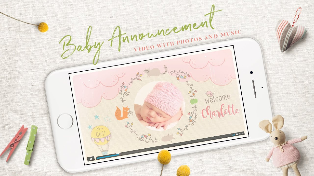 Woodland Baby Birth Announcement for Girls, Electronic Invitations, Girls Newborn Announcement