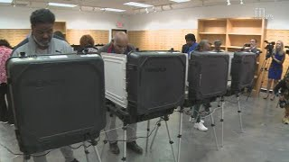 Stacey Abrams voted early on Monday at South DeKalb Mall