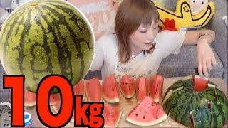 [MUKBANG] 10Kg of Watermelon Cut 2 Interesting Ways| Yuka [Oogui] thumbnail