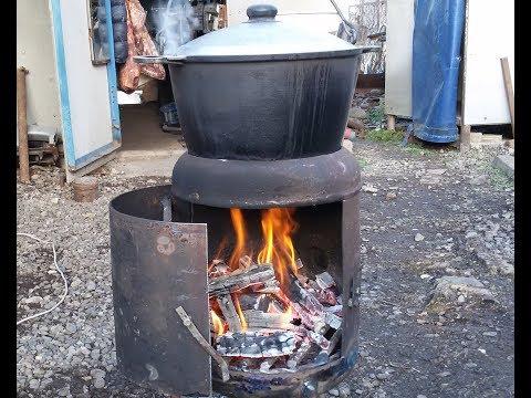 Печь для казана из газового баллона.