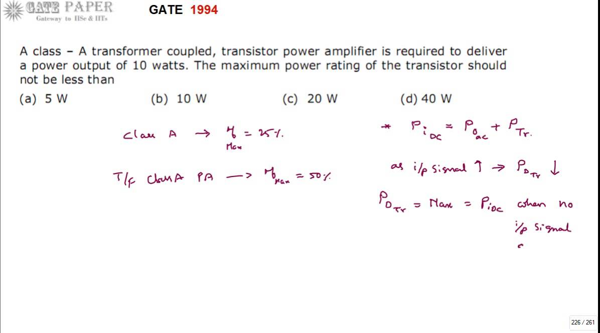 gate 1994 ece class a transformer coupled power amplifier youtube. Black Bedroom Furniture Sets. Home Design Ideas