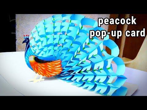 school project peacock | peacock pop up card 2019 | school project idea peacock