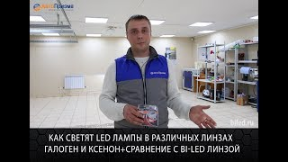 Как светят LED лампы в различных линзах галоген и ксенон+сравнение с Bi LED линзой