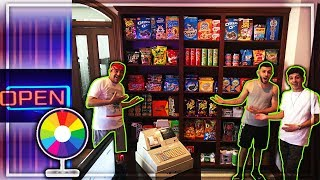 TURNING MY HOUSE INTO A SUPER MARKET!!(spin the wheel)