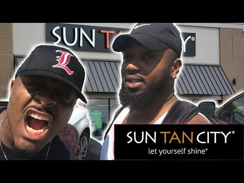 SUN TAN CITY   BLACK GUYS GO TO TANNING BED SALON   BEFORE AND AFTER