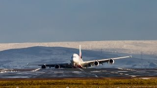 A380 dramatic crosswind landing on friday13th in the snow on 23R manchester