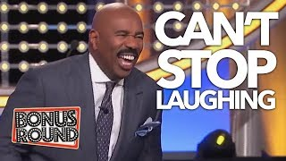 STEVE HARVEY Can't Stop Laughing At His Answer On Family Feud USA! Bonus Round