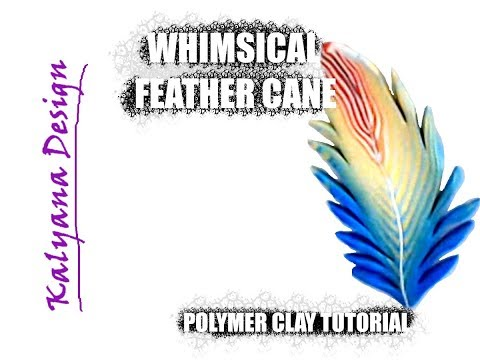 Rainbow feather cane - whimsical feathers - polymer clay tutorial 078