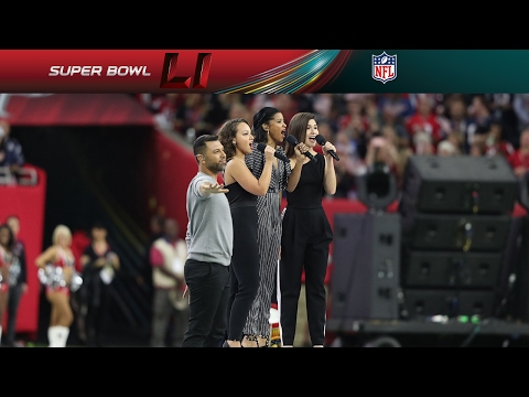 Hamilton Cast Members Perform America the Beautiful at Super Bowl LI | NFL