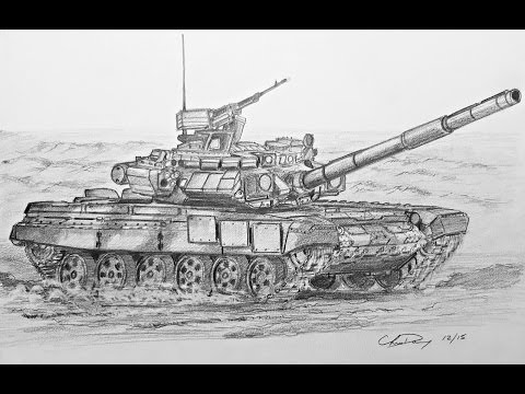 How to Draw a Russian T-90 Tank