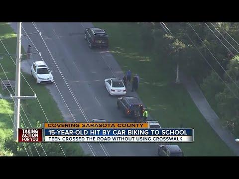 Teen hit by car while biking to school in Sarasota County