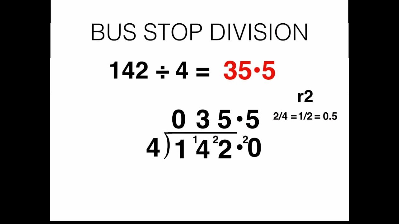 Bus Stop Division and Converting Remainders to Decimal Values