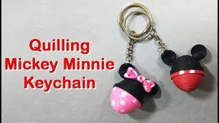DIY Quilling Mickey & Minnie mouse Keychain | How to make Quilling keychain
