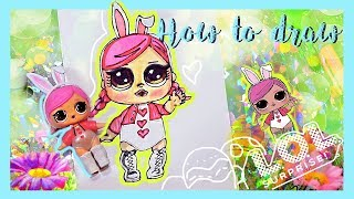 How To Draw LOL Surprise Doll HOPS Tutorial / DIY