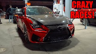 SLEEPER Supercharged Lexus Takes On HELLCATS and MORE! (750HP Supercharged RCF) + Running From Cops!