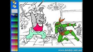 Teenage Mutant Ninja Turtles Bebop Coloring (Рисовалки черепашек ниндзя: драка в кафе)