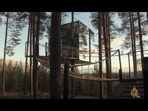 d87aa3a12 فندق بين السماء والأرض بغابة شمالي السويد - YouTube