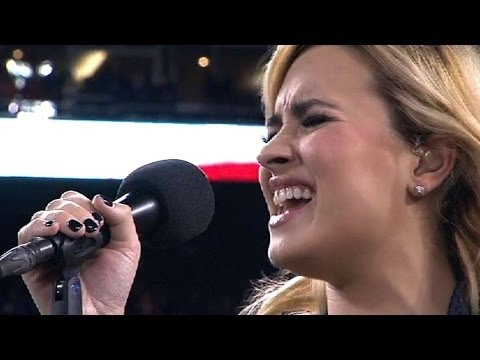 WS2012 Gm4: Demi Lovato sings the national anthem