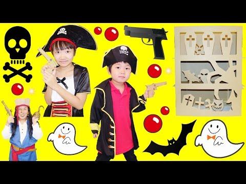 ★海賊ごっこ!「銃対決~!ゴーストシューター」ダンボール工作★「Ghost Shooter」Cardboard construction★