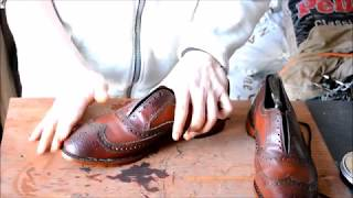 ASMR How I care, condition, and shine (also mirrorshine) Allen Edmonds McAllister Chilli shoes