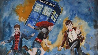 Doctor Who: 11th, Amy, Rory + Tardis (watercolour/Aquarell) - Speed Drawing
