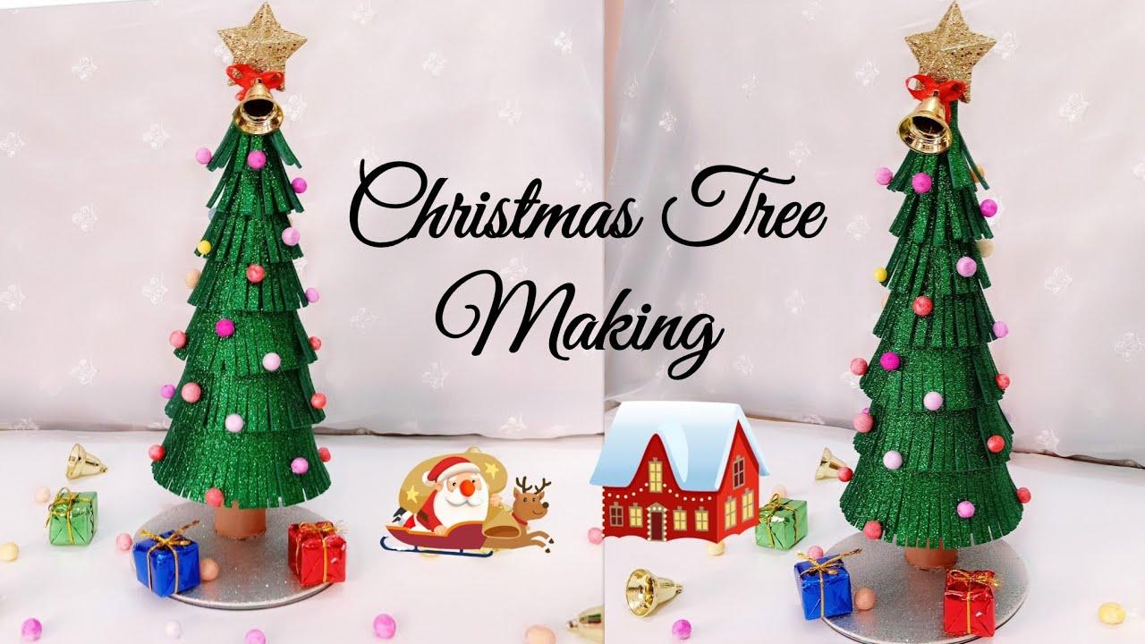 Christmas Tree Making Christmas Tree From Glitter Foam Sheet