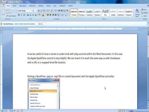Placing quicktime .mov or .mp3 in a Word document