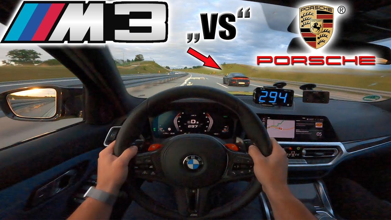 Crazy 2021 M3 Competition meets Porsche 992 and Macan Turbo on German Autobahn✔