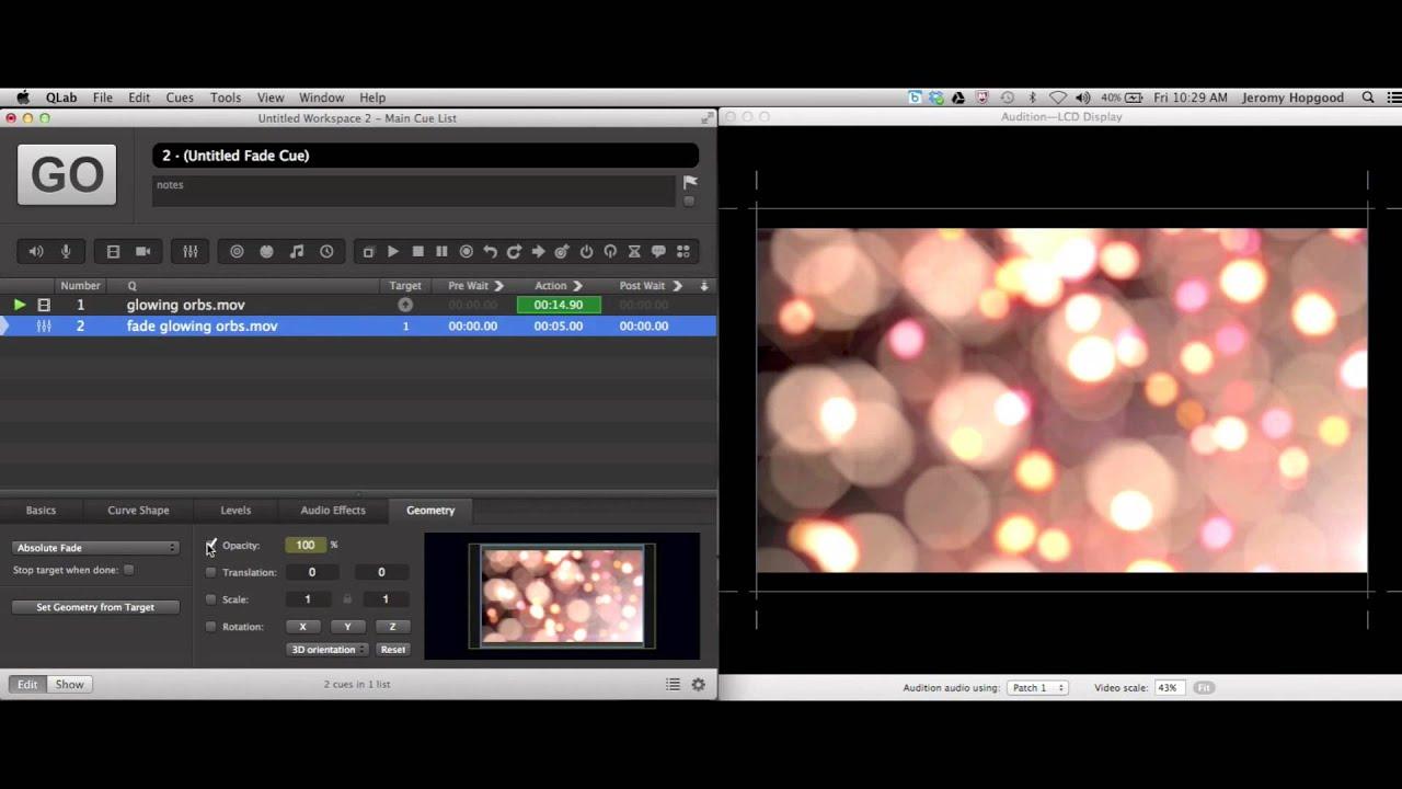 QLAB Video Fade In