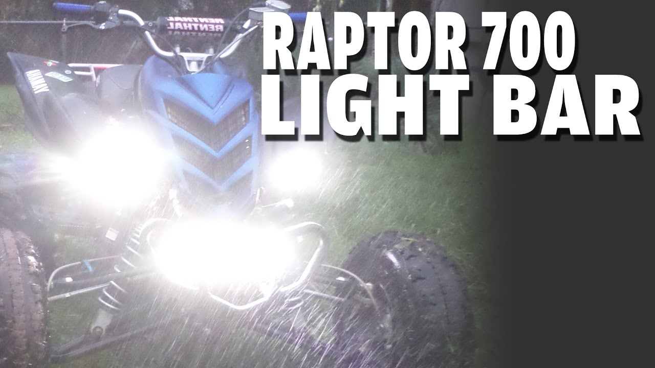 Raptor 700 Led Light Bar Headlight Upgrade Review Youtube Atv Relay Switch Wire Diagram And Three