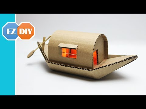 How to Make a Romantic House Boat From Cardboard - Cardboard DIY Project