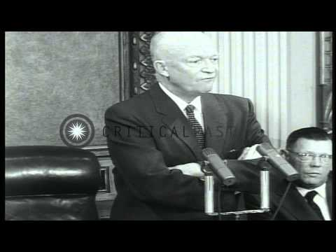 President Eisenhower talks about economy during a press conference in Washington ...HD Stock Footage