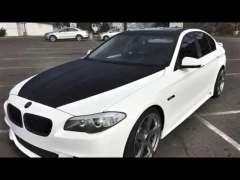 Bmw 535i Full White Carbon Fiber Vinyl Wrap Black Carbon Accents
